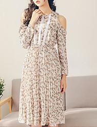 Sign 2017 Sen female line sweet little fresh long section strapless long-sleeved chiffon dress