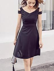 2017 européen et américain grand v-cou sans bretelles mince taille fine robe a-ligne grosse robe puff petite robe noire