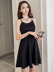 2017 nouvelle robe de courroie sexy en v-cou en bas de la taille un mot flounced jupe femme été