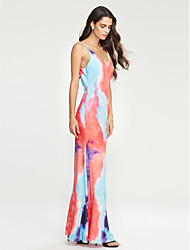 Women's Party Street chic Backless Slim Cut Out Sheath Dress,Color Block Strap Maxi Sleeveless Pink