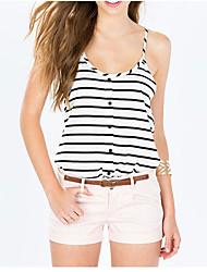 Ebay aliexpress hot minimaliste noir et blanc pinstripe impression boutons décoratifs u-neck vest harnais