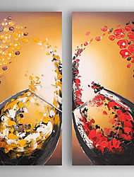 Hand-Painted  Abstract Wine Cups by knife Set of 2 Canvas Oil Painting With Stretcher For Home Decoration Ready to Hang