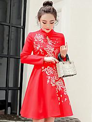 Знак 16 dongkuan новый тонкий был тонкий юбка платье вышитые воротник зимние женщины