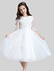 Ball Gown Tea-length Flower Girl Dress - Cotton Satin Tulle Jewel with Appliques Pearl Detailing