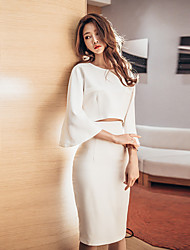 Spring was thin and long sections Slim fifth sleeve sexy package hip waist dress two-piece suit