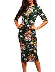 Для женщин На выход Вечеринка/коктейль Шинуазери (китайский стиль) Облегающий силуэт Платье Цветочный принт,Круглый вырез Средней длины
