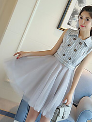 Women's Going out A Line Dress,Solid Striped V Neck Above Knee Sleeveless Silk Spring Summer High Rise Micro-elastic Thin