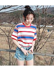Damen Gestreift Niedlich Ausgehen T-shirt,Rundhalsausschnitt Kurzarm Baumwolle
