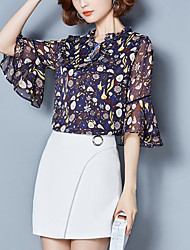 Blusa Da donna Casual Ufficio Taglie forti Moda città Estate,Con stampe Colletto alla coreana Poliestere Mezze maniche Sottile