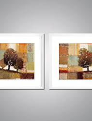 Framed Canvas Prints Abstact Tree Painting Picture Print on Canvas with White Frame for Livingroom Decoration