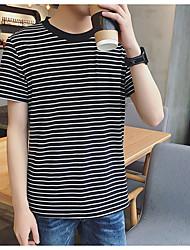 Été mâle à manches courtes t-shirt homme minimaliste mince corps et sang chemise korean rayé décontracté manches courtes t t9 jeunesse