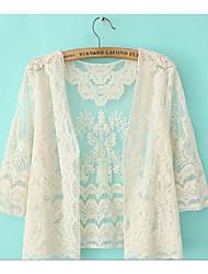 Для женщин На каждый день Лето Рубашка V-образный вырез,Простое ОднотонныйПолиэстер,Тонкая
