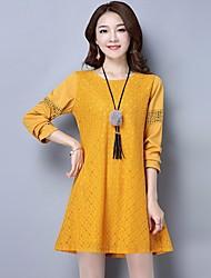 Damen Solide Einfach Ausgehen T-shirt,Rundhalsausschnitt Langarm Baumwolle