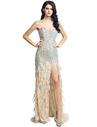 Mermaid / Trumpet Sweetheart Sweep / Brush Train Jersey Formal Evening Dress with Beading