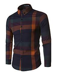 Men's Work Simple All Seasons ShirtSolid Shirt Collar Long Sleeve White Black  Medium
