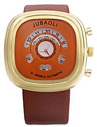 JUBAOLI Men's Sport Watch Quartz Leather Band Black