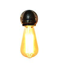 Ac 220v-240v 4w e27 qs-115 lampe murale en fer noir simple rétro lampe murale simple tête lampe murale décorative style européen