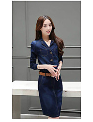 Women's Casual/Daily Simple Shift Dress,Solid Notch Lapel Above Knee Long Sleeve Nylon Summer Fall Mid Rise Inelastic Medium