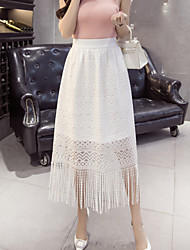 Women's Going out Casual/Daily Midi Skirts,Cute A Line Swing Lace Tassel Solid Spring Summer