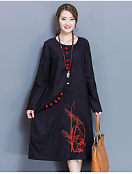 Sign spring new literary retro big yards national wind embroidery cotton long-sleeved dress women