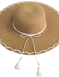 Women 's Beach Vacation Summer Bow Tie Tassel Shopping Straw Big Brim Hat