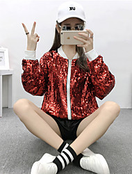 Heavy really making wild new sequined long-sleeved zipper short coat baseball uniform jacket Slim female