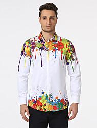 Masculino Camisa Social Casual Praia Férias Simples Punk & GóticasEstampado Algodão Colarinho de Camisa Manga Longa