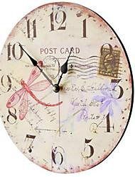 Retro Anderen Wanduhr,Kreisförmig Holz Kunststoff 35*35 Drinnen Uhr