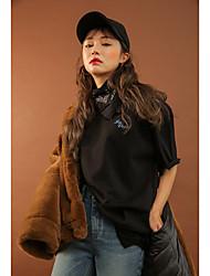 Korea stylenanda même paragraphe loose t-shirt impression broderie