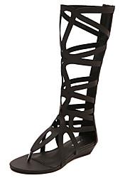 Women's Sandals Summer Gladiator PU Dress Flat Heel Zipper