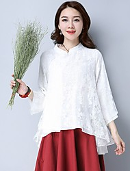 Feminino Camiseta Férias SimplesSólido Outros Colarinho Chinês Manga ¾