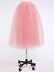 Slips Ball Gown Slip Knee-Length 4 Tulle Netting White Black Red