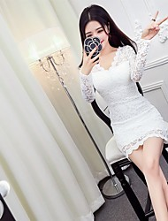 Women's Dailywear Evening Party Engagement Party Honeymoon Prom Wedding Party Date Sexy Simple Cute A Line Dress,Solid Color V-neckAbove
