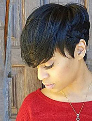 natürliche elegante schwarze kurze Haare Menschenhaar-Perücke für Frauen
