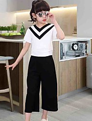 Girl's Cotton  Fashion And Personality A Brief Paragraph V Is Gotten Loose T-Shirts With Short Sleeves Wide-Legged Pants Two-Piece Outfit