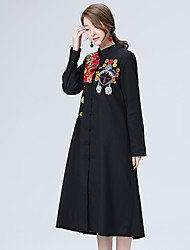 Sign Spring and Autumn new women's national wind embroidery stitching windbreaker jacket and long sections