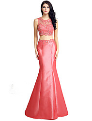 Mermaid / Trumpet Jewel Neck Floor Length Lace Taffeta Evening Dress