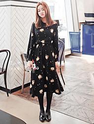 la nuova sezione lunga del retro vestito floreale era sottile abito di chiffon di base a maniche lunghe pizzo a-line del pannello