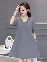 Women's Casual/Daily Loose Dress,Color Block Asymmetrical Midi Mini Long Sleeve Cotton Spring Fall High Rise Micro-elastic Medium