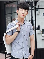Men's Casual/Daily Simple Shirt,Geometric Shirt Collar Short Sleeve Cotton