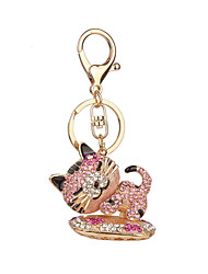 Key Chain Cat Key Chain White Blue Pink Metal