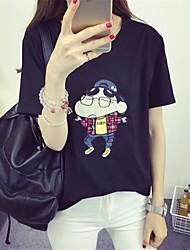 Знак 2017 летом с короткими рукавами футболку женского корейского потерять мелки небольшой звезды шаблон мультфильм короткими рукавами