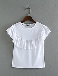 Women's Beach Holiday Sexy Summer Fall Shirt,Solid Round Neck Sleeveless Cotton Sheer Opaque
