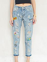 отличный клиент действительно делает 2017 весной новые отверстия патч значок в джинсах женщина легких
