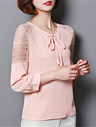 Women's Going out Casual/Daily Street chic Spring Summer Blouse,Solid Round Neck Long Sleeve Polyester Medium