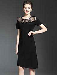Feminino Vestidinho Preto Vestido,Para Noite Festa/Coquetel Férias Moda de Rua Sofisticado Sólido Decote Redondo Assimétrico Manga Curta