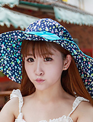 Women's Canvas Bowler/Cloche Hat Straw Hat Sun Hat,Vintage Cute Party Work Casual Color Block Spring Summer Fall All Seasons