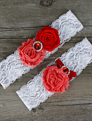 2pcs/set Red Satin Lace Chiffon Beading Wedding Garter