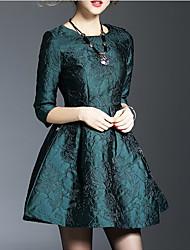 nova moda cor sólida rodada decote jacquard vestido de cintura um vestido-line