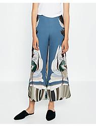Europeu e americano comércio grande pista mostra za guindaste impresso calças perna larga calça nova primavera e verão mulheres&# 39;